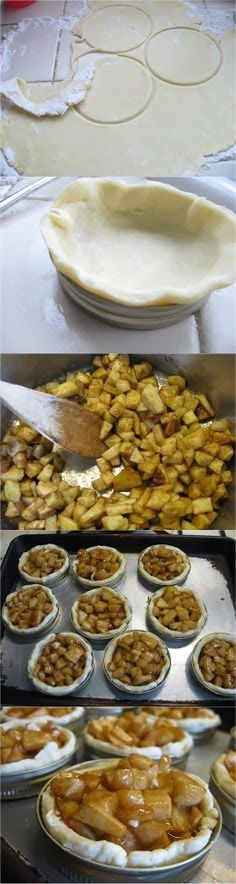 Mini apple pies using jar lids, soo freakin cute!