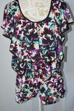 NY Collection Womens XL New Colorful Short Sleeve NEW Tunic Top Shirt Ruffle #NYCollection #Tunic #Casual