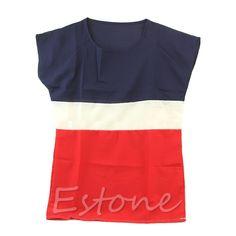 Fashion Casual Chiffon Colors Collision Women s Loose Short Sleeve T Shirt Tops on http://ali.pub/a7oe8