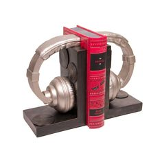 "Headphone Bookend Set ~ ""Headset ready. Organize your favorite books with this stylish Headphone Bookend Set. The wood and metallic color combination gives your room an urban feel without clashing with any of your furniture or wall hangings."""