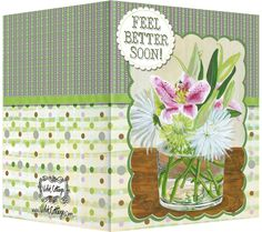 Feel better soon lilies and mums greeting card. Blank inside. Available wholesale or retail:   http://www.violetcottage.com/get-well/47-get-well-soon-blank-inside-pink-lilies-mumms-in-vase.html
