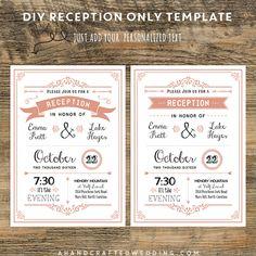 Coral DIY Reception Only Invitation | ahandcraftedwedding #wedding #printables