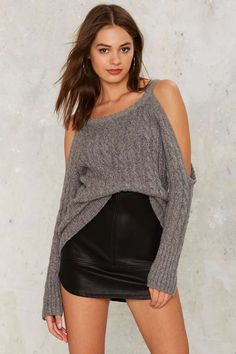 Nasty Gal Take It Away Cold Shoulder Sweater - Clothes Ribbed Sweater, Cable Knit Sweaters, Thing 1, Cold Shoulder Sweater, Sweater Shop, Fashion Outfits, Fashion Trends, Trending Fashion, Fall Outfits