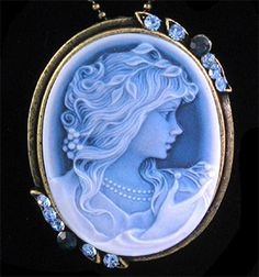 Luxury royal blue/white cameo pendant necklace.