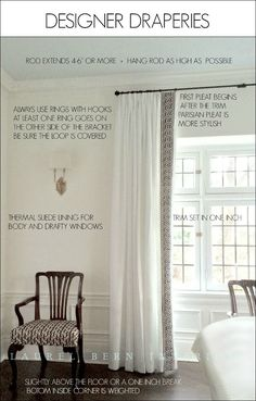 How To Get Window Treatments Like You See In Magazines - laurel home | In this post, I tell you exactly how I specify window treatments for clients-- what kind of hardware, how much fabric you'll need, styling and tons of other details. | wall color is Benjamin Moore cotton balls oc-122