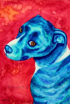 Blue Dog Painting Limited Edition Fine Art by rachelspetpaintings