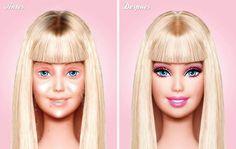 Panenka Barbie bez make-upu a po nalíčení