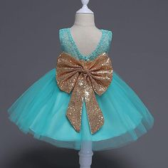 SHINING BIG BOWKNOT BABY GIRL PRINCESS DRESS