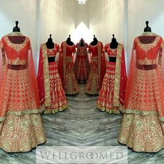 Who says wearing red on your wedding is old fashioned? Check out this red and gold bridal lehenga collection from Wellgroomed Designs Inc. Perfect for the modern bride with strong traditional roots. For more fashion inspiration go here: http://bit.ly/1HBR63F