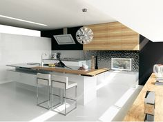 Lacquered olive wood kitchen without handles Contempora Collection by Aster Cucine