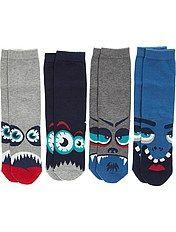 Pack of 4 pairs of monster-themed socks