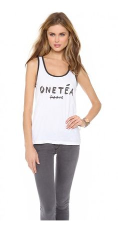 ONE TEA TONY TANK - $17.20  Cheeky lettering details a lightweight One Teaspoon tank. Contrast banding trims the deep scoop neckline and arm openings