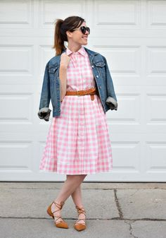 Pairing together the perfect spring outfit with a pink gingham dress and jean jacket outfit from  Eliza J, gingham dress, spring outfits, pink dress, street style, jean jacket outfits,
