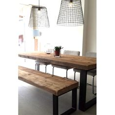 Eettafel Timber (5 balken breed) Diy Home Decor, Dining Table, Living Room, Kitchen, House, Furniture, Banquettes, Tables, Decorating Ideas