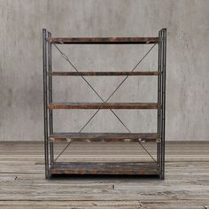 This stunning handcrafted bookcase or display shelves features reclaimed wood and metal construction that will surely make a fashionable statement to any room.