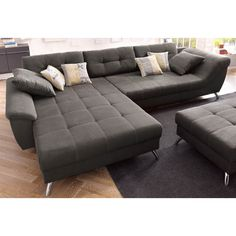 Canap d 39 angle design luberon en pu et tissu coloris noir - Ou trouver des coussins pour canape ...