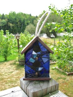 Mini Stained Glass Mosaic Birdhouse by RedfordGlassStudio on Etsy, $14.50