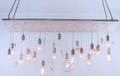 Reclaimed barnwood lighting with quartz crystals and edison bulbs. $999.00, via Etsy.