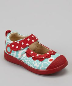 Take a look at this Turquoise & Red Brooke Mary Jane by Madie Jane on #zulily today!