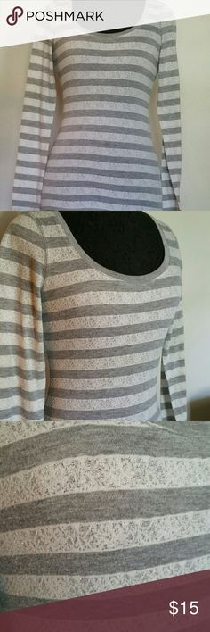 Glitter striped long sleeve top White and gray stripes with glitter threading. Slight burnout effect. Long sleeve top. Express Tops Tees - Long Sleeve
