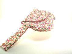 Cream Pink Orange and Green Clutch Purse with Small Flower and Wrist Strap #handmade #etsyaaa