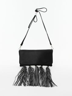 Tassel Cross Body Bag in Black