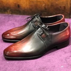 Iconic Italian shape in bi colored patina. Me Too Shoes, Men's Shoes, Dress Shoes, Derby, Beautiful Shoes, Oxford Shoes, Bespoke, Leather, Shape