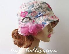 SALE 1920s Cloche Hat flowers cotton Lace fabric Vintage Style hat hatbellissima Summer Hats Hats with a Brooch