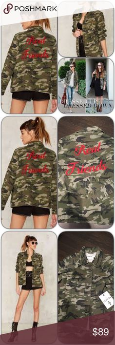 """Real Friends Camouflage Jacket How cool and fun is this! So on trend. Sold out on Nasty Gal but here for you! We found your better half. The Real Friends Jacket comes in green and features a camo print, pockets at front, and """"Real Friends"""" embroidered in red❤️ marked an xs would fit a small or size 2/4. Oversized on a 0 brand is Pistola carried at Nasty Gal Nasty Gal Jackets & Coats"""