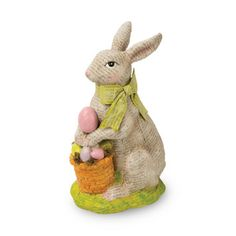 October Hill Decoupage Bunny Figurine with Egg Basket