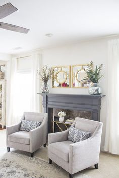 Not These Chairs, But This Is How I Picture The Fireplace Side Of The Living  Room   No TV, One Or Two Accent Chairs, And Then Our Desks In Some Of The  ...