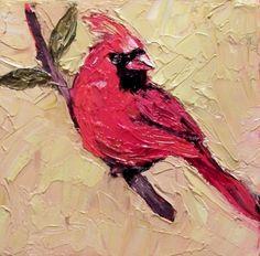 Norma Wilson Original Oil Red Cardinal Bird Painting