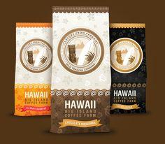 Hawaii Coffee package design by Gabor Jutasi, via Behance