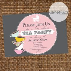 Baby Shower Tea Party Theme Invite on Etsy, $15.00
