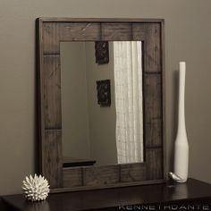 Distressed Wood Mirror Frame Segmented by KennethDante on Etsy, $209.00