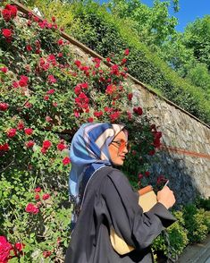 Image may contain: one or more people, plant, flower, outdoor and nature Modern Hijab Fashion, Modest Fashion, Fashion Dresses, Casual Hijab Outfit, The Rev, Poses, People, Photography, Outdoor
