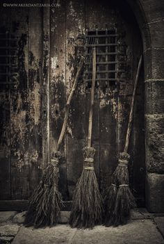 Three wonderful brooms parked outside a very spooky door! Perfect photo for Halloween invitations! Halloween Art, Holidays Halloween, Vintage Halloween, Happy Halloween, Witch Broom, Witch Art, Pagan Witch, Samhain, Witch Cottage