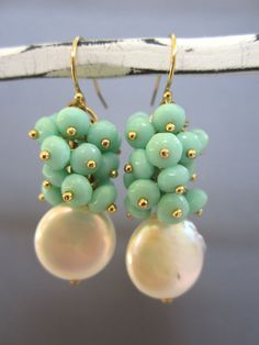 Set of 6 Coin Pearl Custer earrings  wedding by Muse411 on Etsy