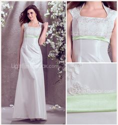 Vestido de Noiva Trapézio/Princesa Quadrado Comprido (Tafetá) - EUR € 124.74 lightinthebox  #00788840