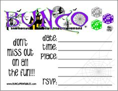 Halloween Bunco Sheet bunco Pinterest Halloween