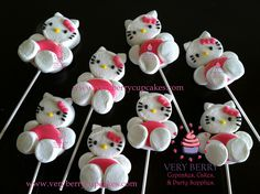 Veryberry Cupcakes: May 2014 Marshmallow Flowers, Marshmallow Treats, Hello Kitty Baby Shower, Hello Kitty Birthday, Cupcake Template, Hello Kitty Cupcakes, Chocolate Lollipops, Edible Crafts, Candy Party
