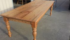 Table constructed from recycled timber with legs modelled on early Victorian era style c 1880 Raw Furniture, Rustic Furniture, Furniture Making, Turned Table Legs, Farmhouse Table, Victorian Era, Recycling, Dining Table, Home Decor