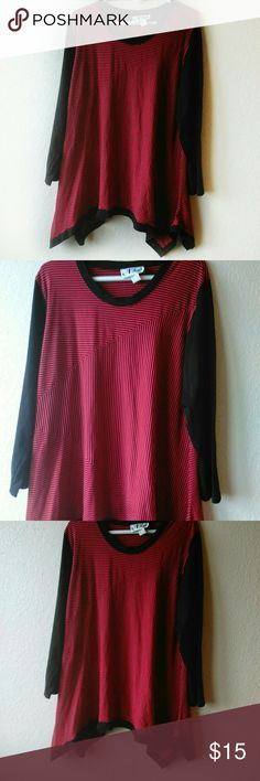 """N Touch Black and Red Tunic Size XL.  Shark Bite Tunic.  Chest is approximately 23"""" across.  Length is approximately 33"""" long (not including longer sides).  Great with leggings. N Touch Tops Tunics"""