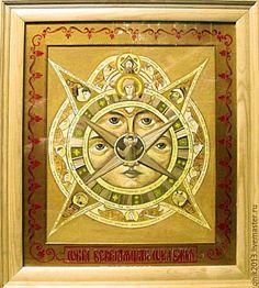 Купить икона Богородица Всевидящее Око Божие - оранжевый, икона в подарок, икона Божией Матери