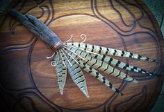 Pheasant Feather Fan with Driftwood and Hammered Copper- Art Smudge Fan Decorative Wall Hanging Cleansing. $38.00, via Etsy.