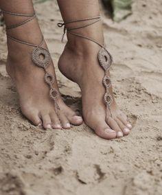 Beach wedding Seashells Tan and Aqua Crochet bridal Barefoot Sandals, Nude…