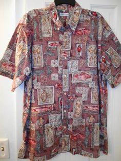 f9b82644 Details about Hilo Hattie Mens L Hawaiian Shirt Blue Reverse Print Cotton  1/2 Button Fish Tapa
