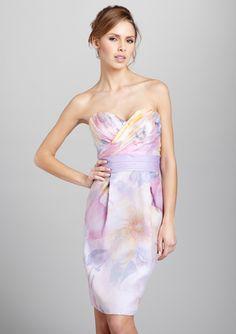THEIA  Floral Print Silk Cocktail Dress  $159.99