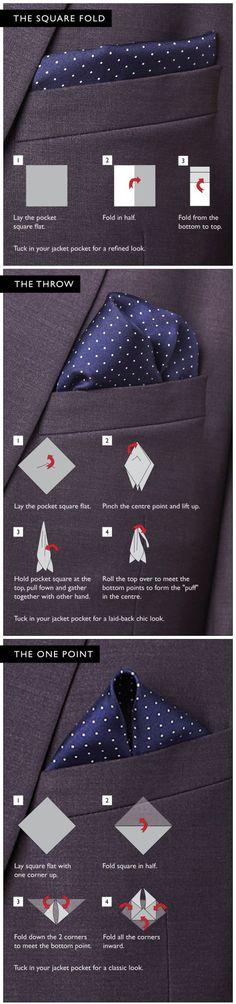 Fashion in Infographics — Pocket Square tutorial Via