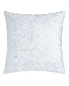 "Lara Embroidered Pillow, 16""Sq., Blue - Charisma"